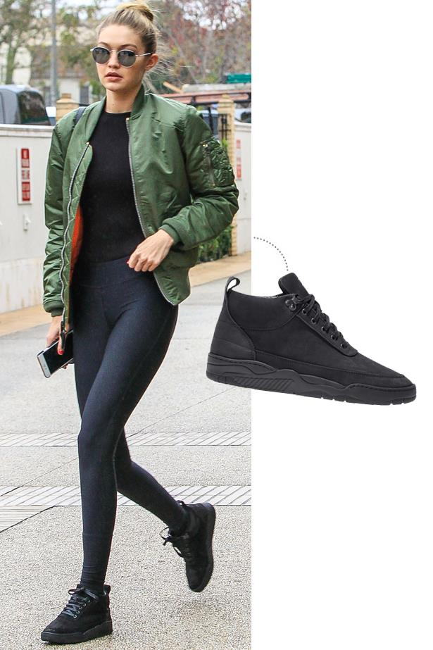 """<a href=""""http://kithnyc.com/collections/filling-pieces/products/ronnie-fieg-x-filling-pieces-rf-mid-ii-black"""">Ronnie Fieg x Filling Pieces RF-Mid II Sneakers</a>, $235"""