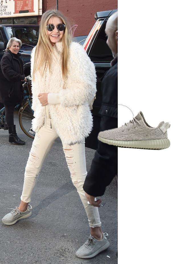 """<a href=""""http://www.adidas.com/us/yeezy"""">Adidas Yeezy Boost 150 in Moonrock</a>."""