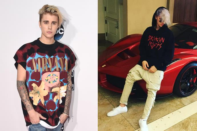 <p> <strong>Justin Bieber</strong></p> <p>Justin Bieber took to his Instagram to show off his brand her hair colour (purplish grey, if the picture was unclear) in the most Justin Bieber-ish way possible: shirtless, and posing on his porsche. </p>