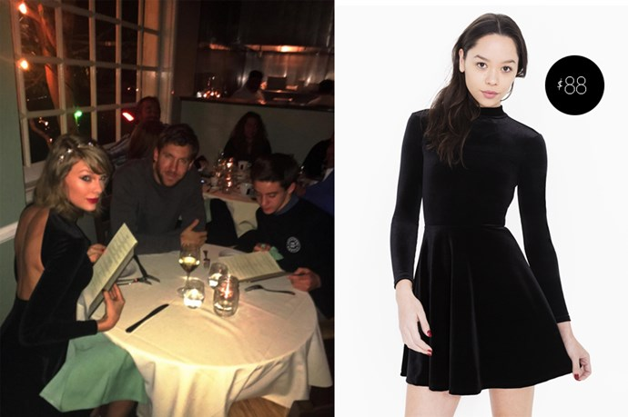 "Taylor Swift wore this <a href=""http://store.americanapparel.com.au/velvet-violette-skater-dress_rsavv3148"">American Apparel Velvet Skater Dress</a>, $88, on a date with Calvin Harris recently."