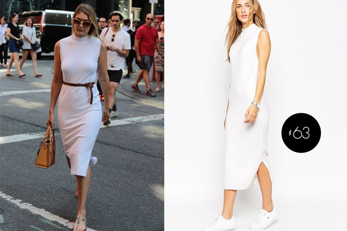 "Gigi Hadid's fresh <a href=""http://www.asos.com/au/Prod/pgeproduct.aspx?asosPop=true&iid=5030187&clr=White&SearchQuery=knit%20funnel%20neck%20white%20dress&SearchRedirect=true&xr=2&&pubref=1171&transaction_id=1025bbd7ec7fcb16aa90e4567586ce&xAffId=10607&xr=1&mk=na&r=3"">white midi dress from ASOS</a> is only $22."