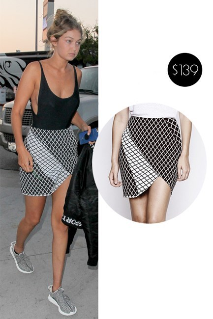 "Gigi's <a href=""http://stylestalker.com/chronicle-skirt-grid"">'Chronicle' skirt from Stylestalker</a> will only put you back $139."