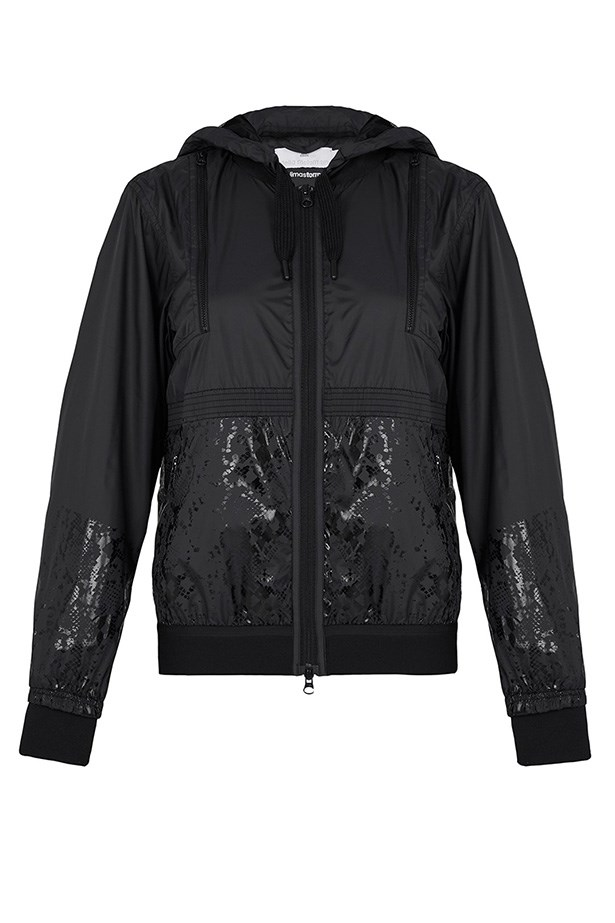 "Jacket, $200, Adidas by Stella McCartney, <a href=""https://www.modesportif.com/shop/product/adidas-by-stella-mccartney-run-clima-jacket-in-black/"">modesportif.com</a>"