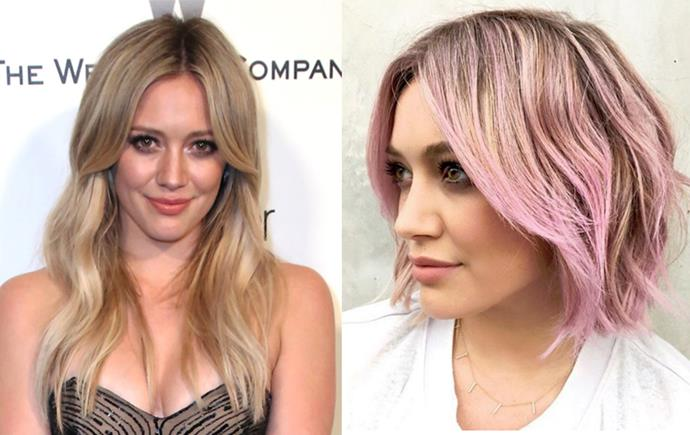"""<p> <strong>Hilary Duff</strong></p> <p>Hillary Duff ditched her regular blonde for what she calls """"Iced Sorbet"""". Delicious. </p>"""