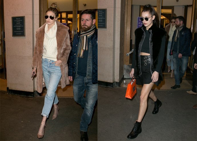 Are Gigi and Bella the coolest sisters on the planet? Probably yes. The model sisters rocked completely separate but 100% amazing looks in Paris today.