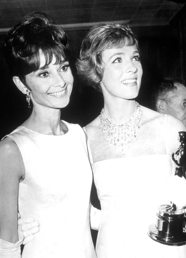 Julie Andrews rocked a white sleeveless gown with a statement necklace for her win in 1964.