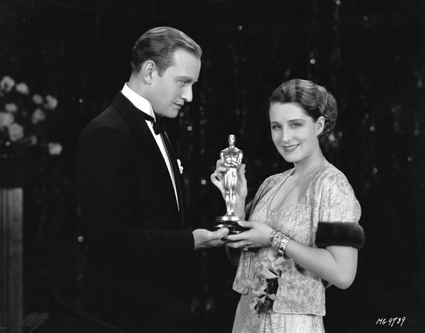 Norma Shearer wore a chic fur-cuffed chiffon dress to win her first Oscar in 1929 for 'The Divorcee'.