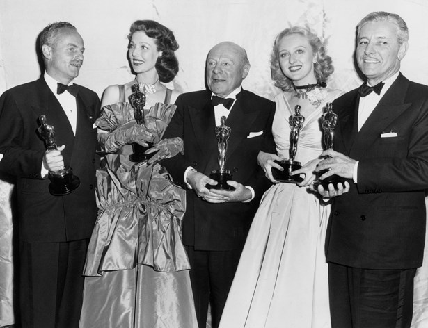 Loretta Young went big with taffeta in 1947.