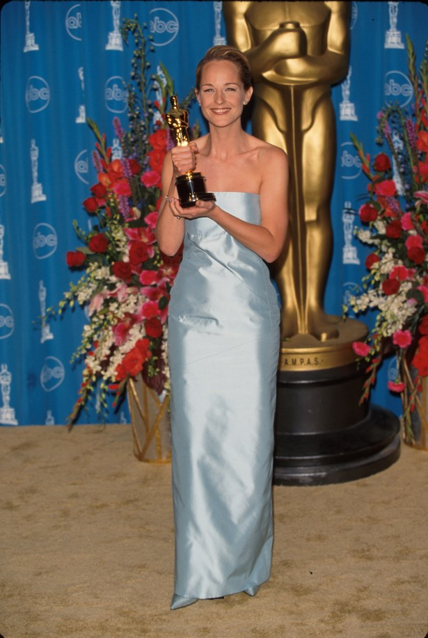 A blue column was the order of the day for Helen Hunt in 1997.