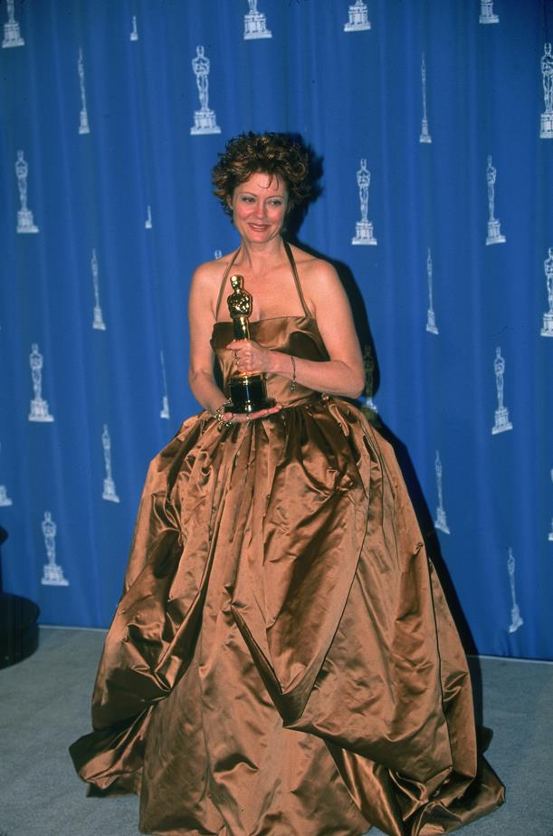 Susan Saradon went for a big, bronze ball gown in 1995.