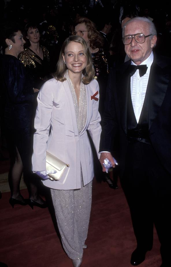 Jodie Foster chose a oversized lavender pant suit for her second win in 1991.