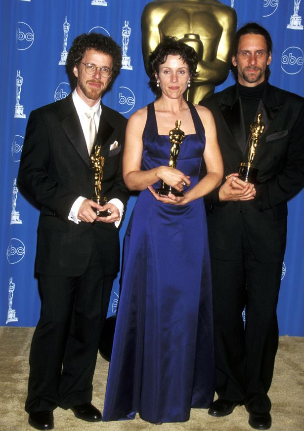 Frances McDormand wore this deep blue halter neck in 1996.