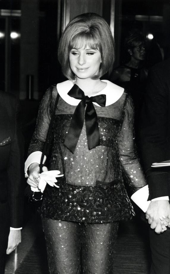 Barbra Streisand's Oscars sheer black pantsuit with white collar and pussy bow couldn't have been more Barbra Streisand if it tried. Barbra shared her 1968 Oscar with Katharine Hepburn.