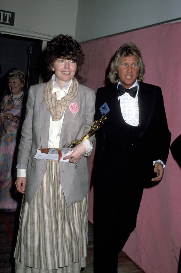 Diane Keaton wore this blazer-with-skirt combo at the 1977 Awards. How very Annie Hall.