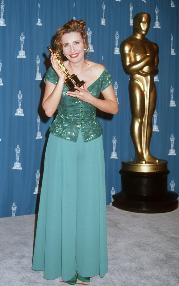 Emma Thompson wore a sequined forest green top with a pair of silk turquoise pants for her win in 1992.