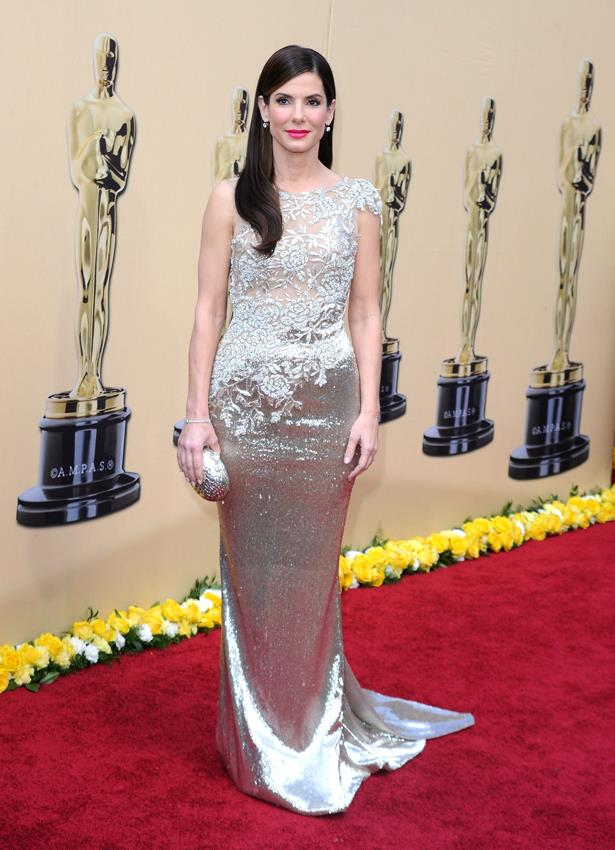 Sandra Bullock wore a silver Marchesa dress in 2009.
