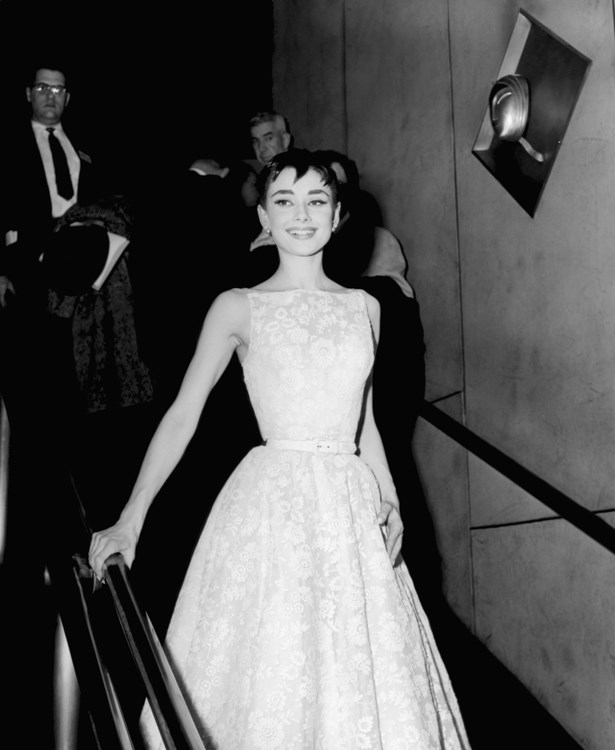 Audrey Hepburn wore a white floral Givenchy dress to the 1953 Oscars.