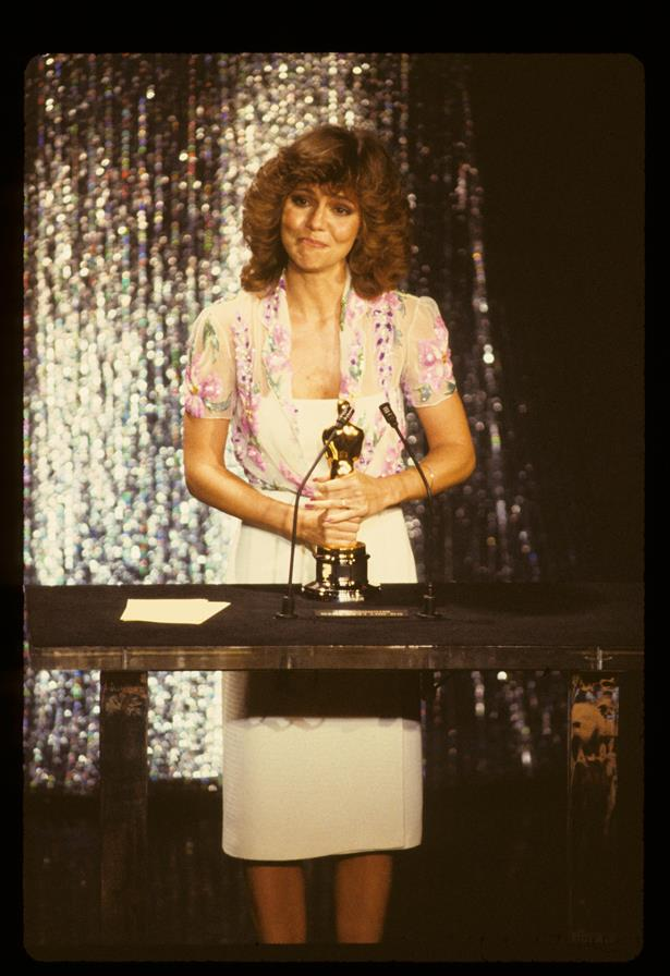 Sally Field wore this sheer floral blouse over a white strapless dress in 1979.