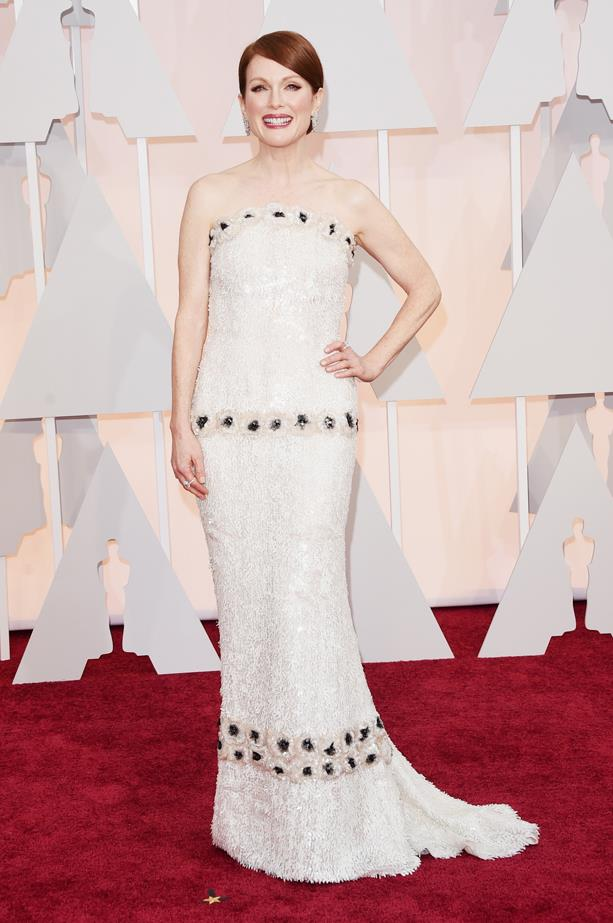 2014's Oscar winner Julianne Moore wore a white Chanel dress.