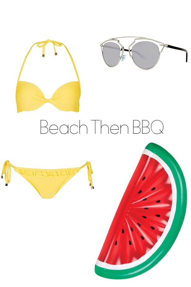 "<p><strong>Beach Followed By BBQ</strong></p> <p><a href=""http://www.topshop.com/en/tsuk/product/clothing-427/swimwear-beachwear-3163078/strappy-plunge-bikini-top-and-tie-side-bottoms-4605406?bi=140&ps=20"">Bikini</a>, $28</p> <p><a href=""http://www.sunglasshut.com/au/762753499158"">Dior sunglasses</a>, $600</p> <p><a href=""http://www.sunglasshut.com/au/762753499158"">Inflatable watermelon</a>, $79</p>"