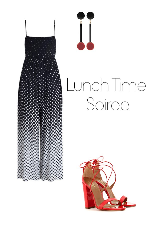 "<p><strong>Lunch Time Soiree</strong></p> <p><a href=""https://www.zimmermannwear.com/lotte-gradating-dot-jumpsuit-dot.html"">Jumpsuit</a>, $330</p> <p><a href=""http://www.mytheresa.com/en-au/clip-on-earrings-532088.html?catref=category"">Drop earrings</a>, $255</p> <p><a href=""http://www.mytheresa.com/en-au/lily-105-patent-leather-sandals-528212.html?catref=category"">Patent heels</a>, $729</p>"