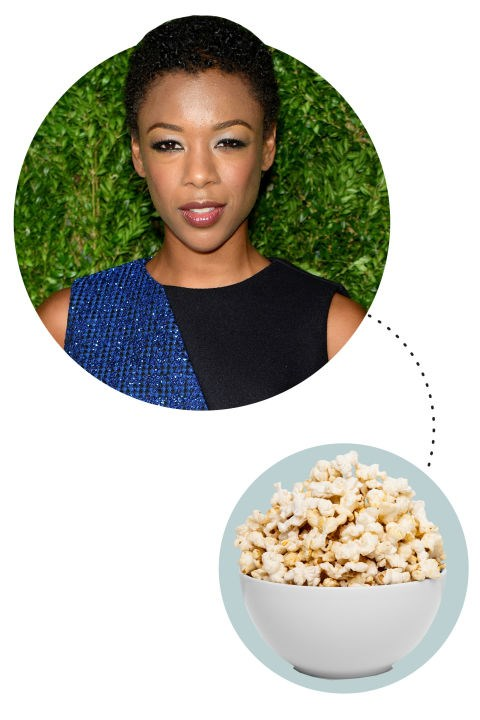 "<strong>Samira Wiley</strong><p> <p> ""Always popcorn. And I have to be on the couch. I'm not a big watch-TV-in-bed kind of person. I want to sort of make the couch my bed. I wear a hoodie, always. The greatest thing would be a hooded and footed onesie. Right now I'm watching Making a Murderer. It's torture, but it's so good."""