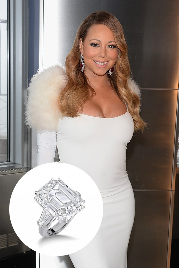 Mariah Carey's third sparkler from billionaire fiance James Packer is a 35 carat ring from Wilfredo Rosado, which, FYI, is 2 carats more than Elizabeth Taylor's iconic rock and more than Kim Kardashian AND Beyonce's combined. Yeah.