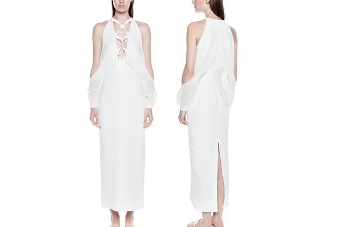 "<a href=""https://www.dionlee.com/shop/dion-lee/dresses/laced-blouson-dress-a9146-r16/268039"">Dion Lee Laced Blouson Dress</a>, $1,290."