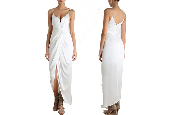 "<a href=""https://www.zimmermannwear.com/sueded-balconette-long-dress-natural.html"">Zimmermann Sueded Balconette Long Dress</a>, $250."