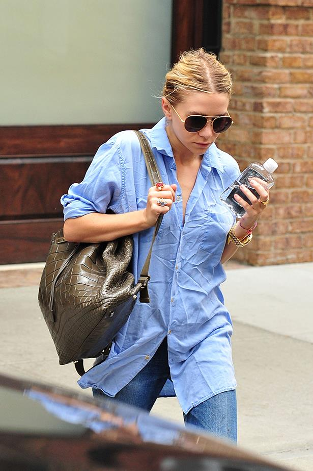 Ashley Olsen's backpack isn't your back-to-school kind. The Row's Alligator backpack is made from pure alligator skin and costs around $48,000.