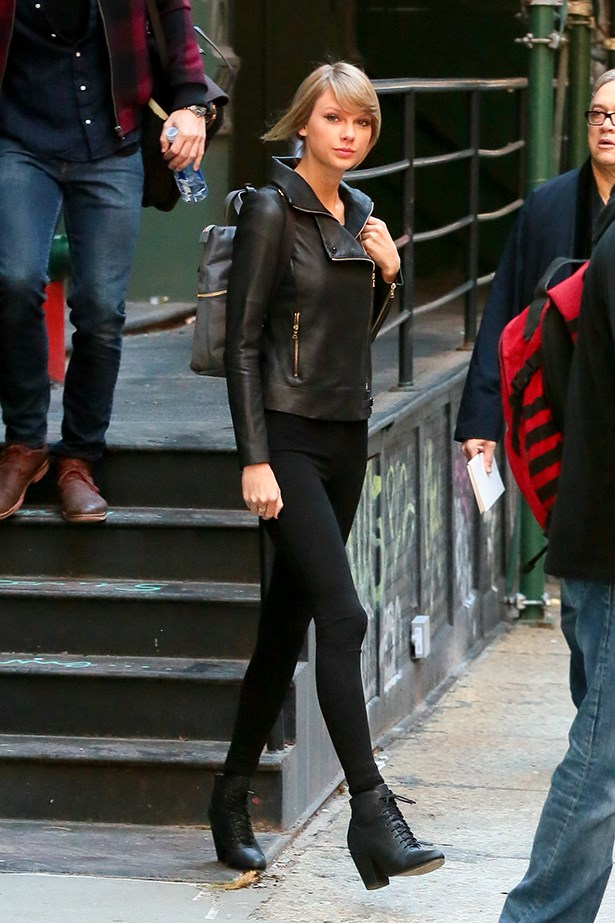 Taylor Swift wore her's with a slick black leather jacket.
