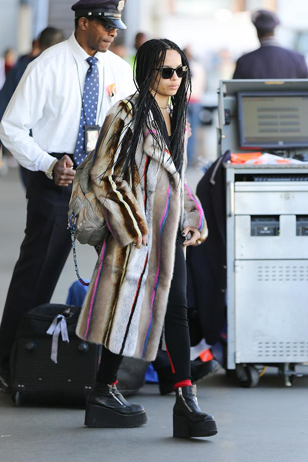 The Chanel Graffiti backpack is a popular choice among celebs - see Zoe Kravitz.