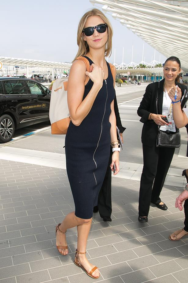 Karlie Kloss' backpack is by cult favourite Mansur Gavriel.