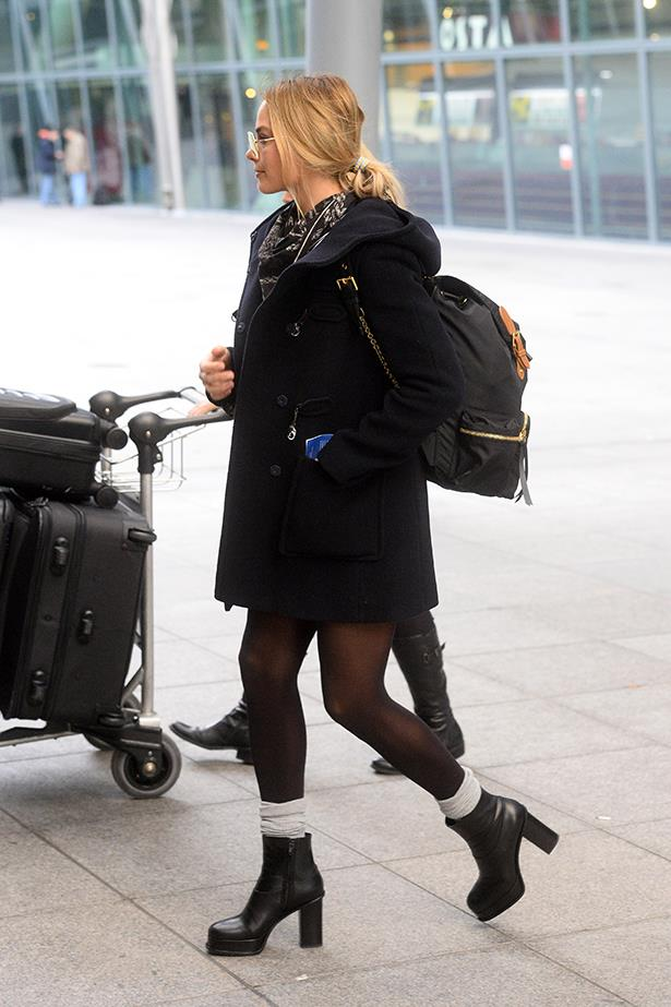 Margot Robbie was spotted out wearing 'The Rucksack' by Burberry, which comes with personalised initials. Chic!