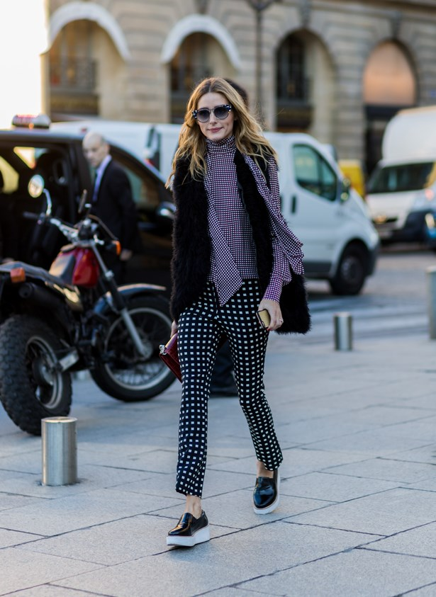 Prints were the order of the day in Paris.