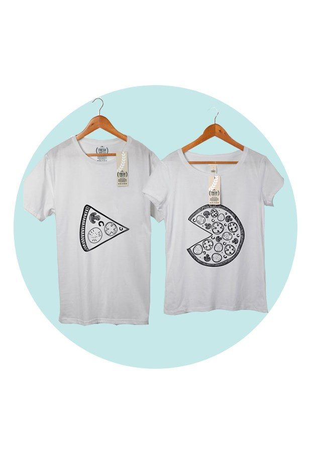 Whoever said matching shirts were corny never saw this pizza-loving set. <br><br> T-shirt set, $55.36, Fresh TShirt Co, etsy.com.au