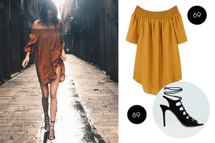 "Kendall's chic summer outfit, including this <a href=""http://shop.mango.com/US/p0/women/sale/flowy-dress/?id=63013639_15&n=1&s=rebajas_t5_she&ident=0__0_1454020516481&ts=1454020516481&p=2&page=1&utm_medium=affiliate&utm_source=25ZRSXYPVYg&utm_campaign=Linkshare_UK"">mustard off the shoulder dress</a> and <a href=""http://shop.mango.com/US/p0/women/accessories/shoes/heeled-sandals/slingback-lace-up-sandals/?id=63090224_99&n=1&s=accesorios.zapatos&ident=0__0_1454286421302&ts=1454286421302&p=2&page=1"">black strappy sandals</a>, are both from Mango."