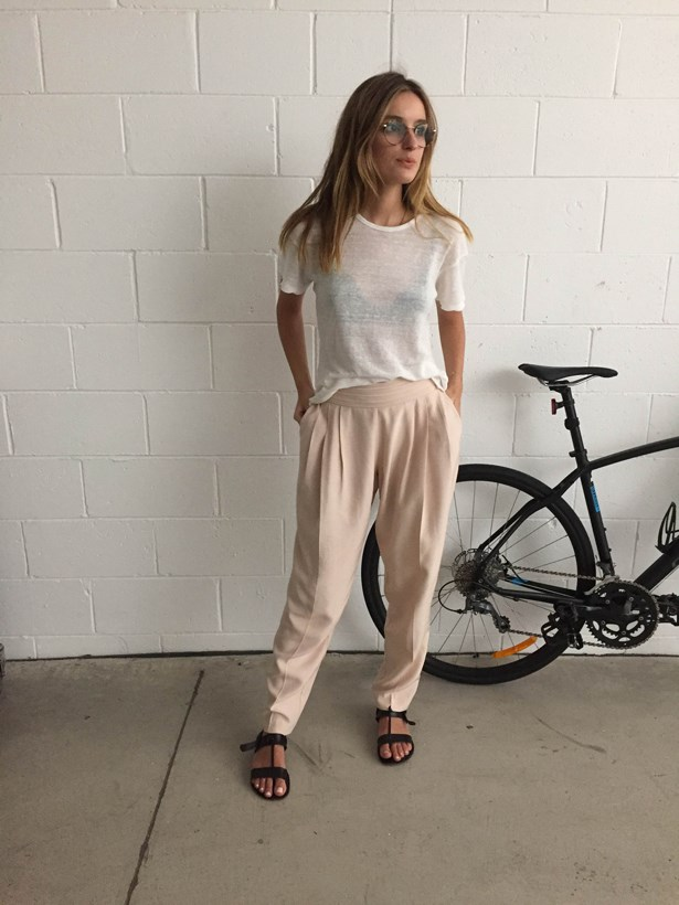 <strong>Claudia Jukic</strong>, editorial and fashion news coordinator<p> <p> Bassike T-shirt, Lover pants, Finery sandals, Garrett Leight California Optical frames.