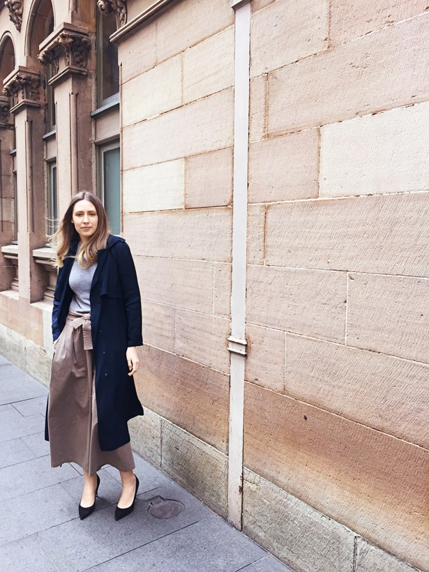 Genevra Leek, associate editor<p> <p> Lanvin trench, IRO knit, Tome culottes, Giambattista Valli heels.