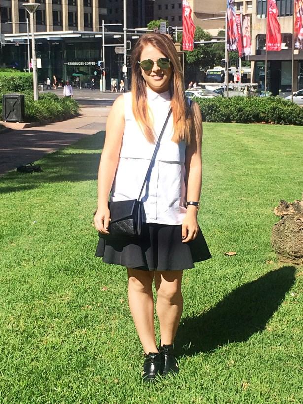 <strong>Laura Disibio</strong>, fashion office coordinator<p> <p> Top from Bondi Markets, Kookaï skirt, Senso boots, Louis Vuitton bag