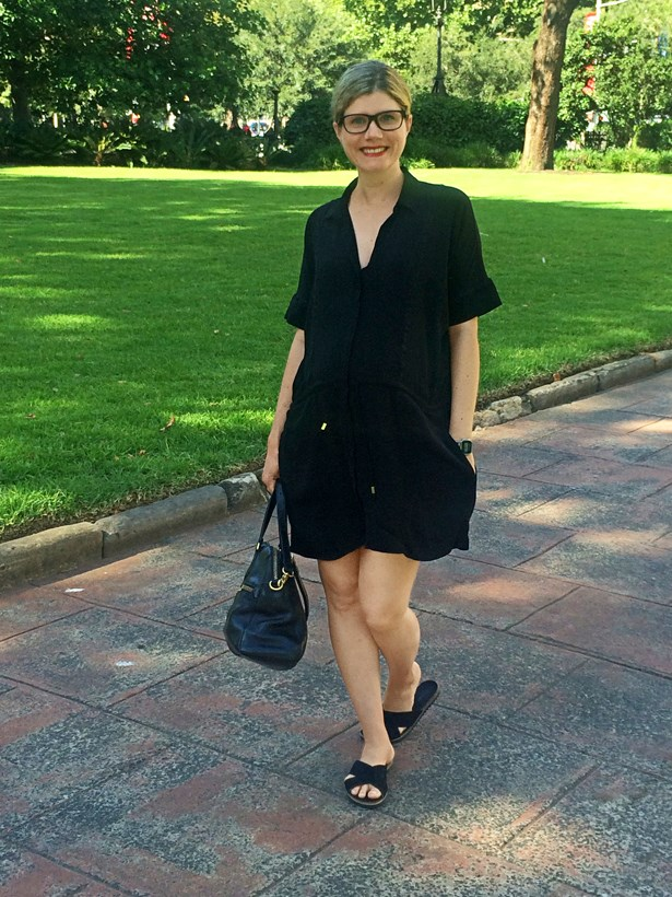 <strong>Natalie Reeves</strong>, copy director (and bump)<p> <p> Witchery shirt-dress, Nine West slides, Prada frames, Marc By Marc Jacobs tote.