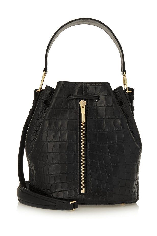 "Elizabeth and James <a href=""https://www.net-a-porter.com/au/en/product/631522/elizabeth_and_james/cynnie-croc-effect-leather-bucket-bag"">'Cynnie' croc-effect leather bucket bag</a>, $888"