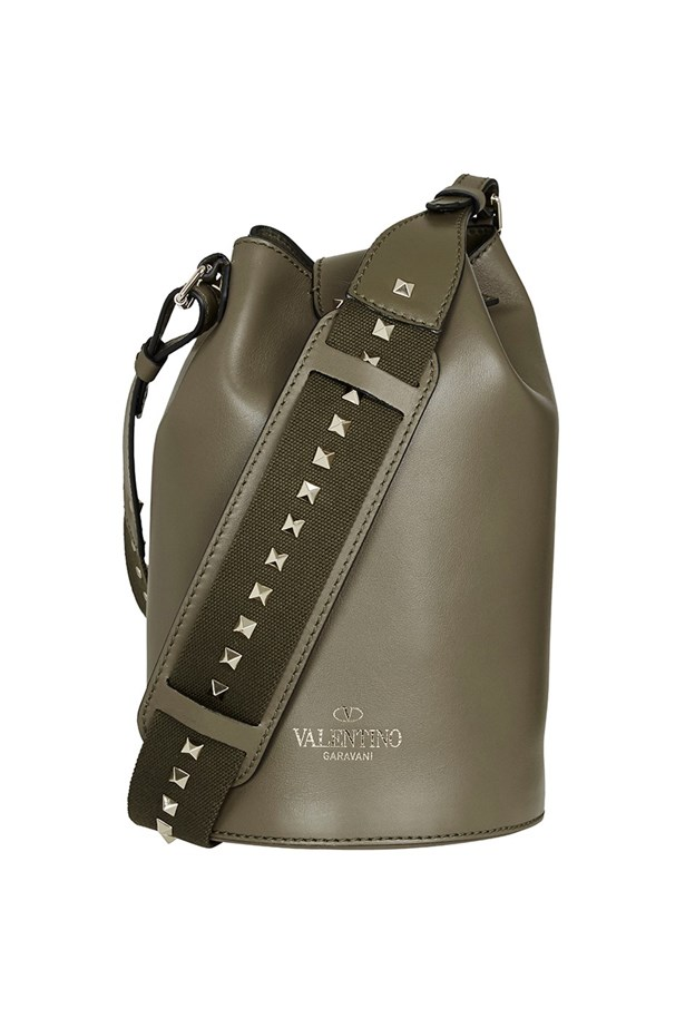 "Valentino <a href=""https://www.modesportif.com/shop/product/bucket-bag-in-army-green/"">Bucket Bag in Army Green</a>, $1,250."