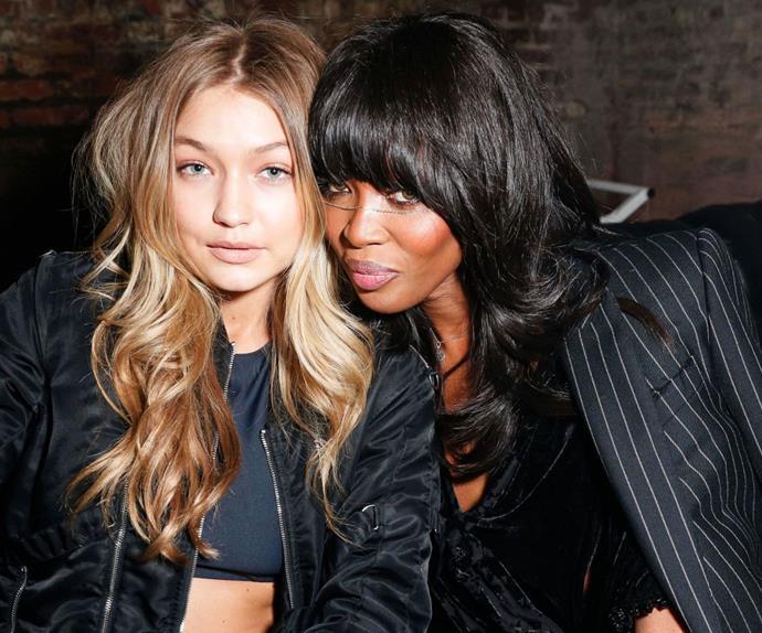 Models Gigi Hadid and Naomi Campbell