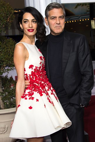 Amal and George Clooney on the red carpet for Hail Caesar.