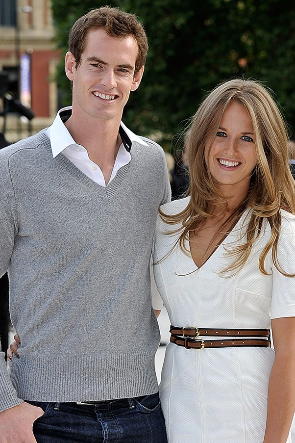Tennis player Andy Murray and wife Kim Sears at the Burberry fashion show.