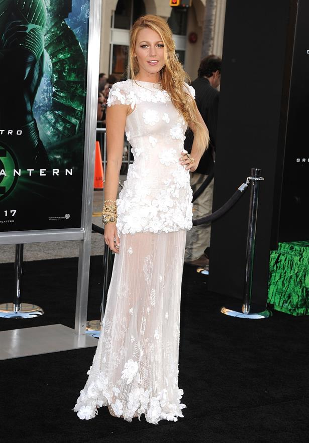 Semi-sheer and embellished at the premiere of <em>Green Lantern</em>.