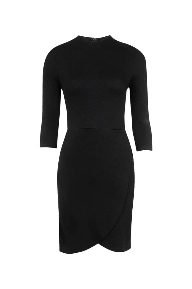 "Wrap-Front Bodycon Dress, $48, <a href=""http://www.topshop.com/en/tsuk/product/wrap-front-bodycon-dress-4563946"">Topshop</a>."