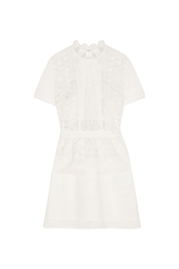 "Self-Portrait Guipure lace peplum mini dress, $451, <a href=""https://www.net-a-porter.com/au/en/product/643195/self_portrait/guipure-lace-peplum-mini-dress"">Net-A-Porter</a>."