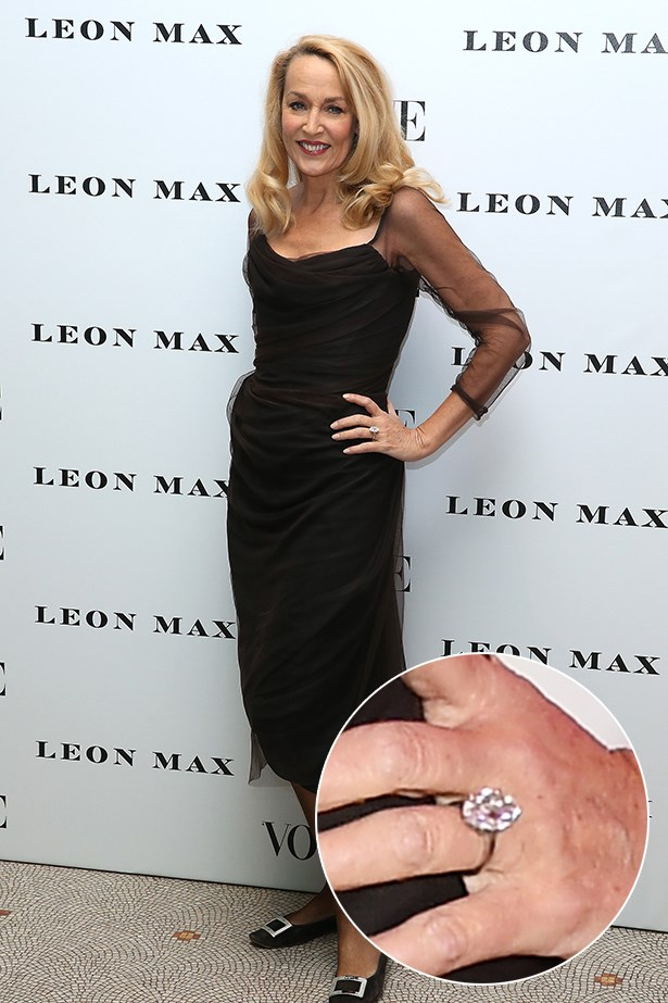 ***Jerry Hall.***<br><br> Jerry Hall flashed her 20-carat marquise ring at a recent event, which is supposed to have cost more than $4.8 million. Dang.